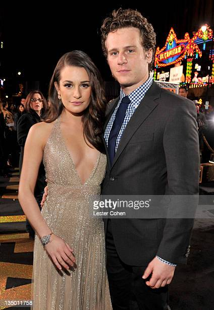 Actors Lea Michele and Jonathan Groff arrive at the Los Angeles premiere of 'New Year's Eve' at Grauman's Chinese Theatre on December 5 2011 in...
