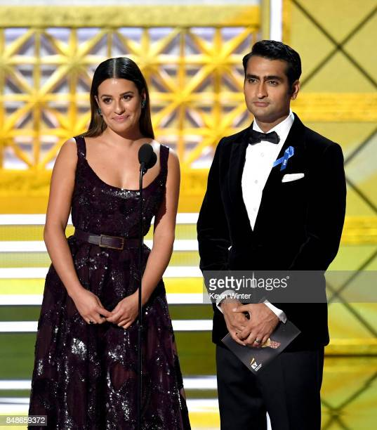 Actors Lea Michele and Kumail Nanjiani speak onstage during the 69th Annual Primetime Emmy Awards at Microsoft Theater on September 17 2017 in Los...