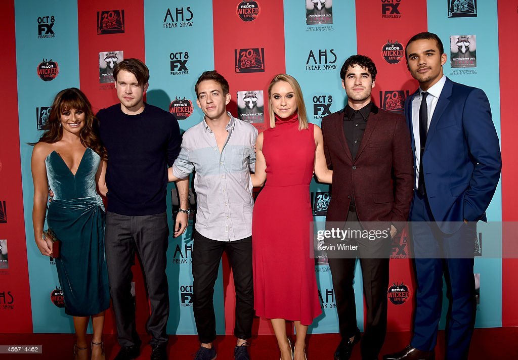 Actors Lea Michele Chord Overstreet Kevin McHale Becca Tobin Darren Criss and Jacob Artist attend the premiere screening of FX's 'American Horror...