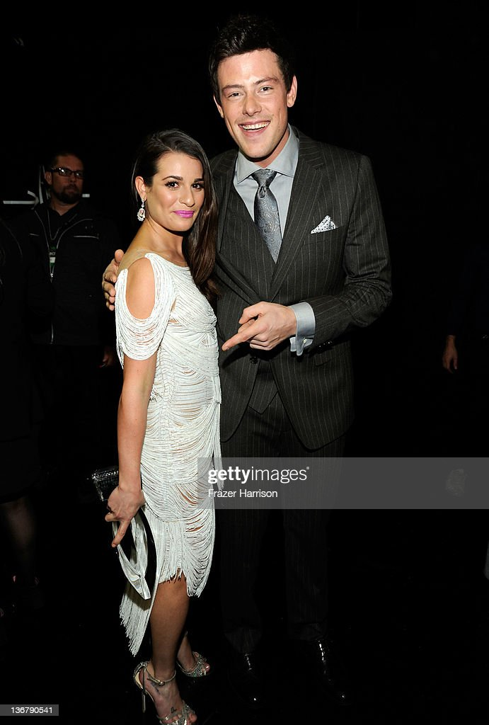 Actors Lea Michele witht the award for 'Favorite TV Comedy Actress' and Cory Monteith attend the 2012 People's Choice Awards at Nokia Theatre LA Live...