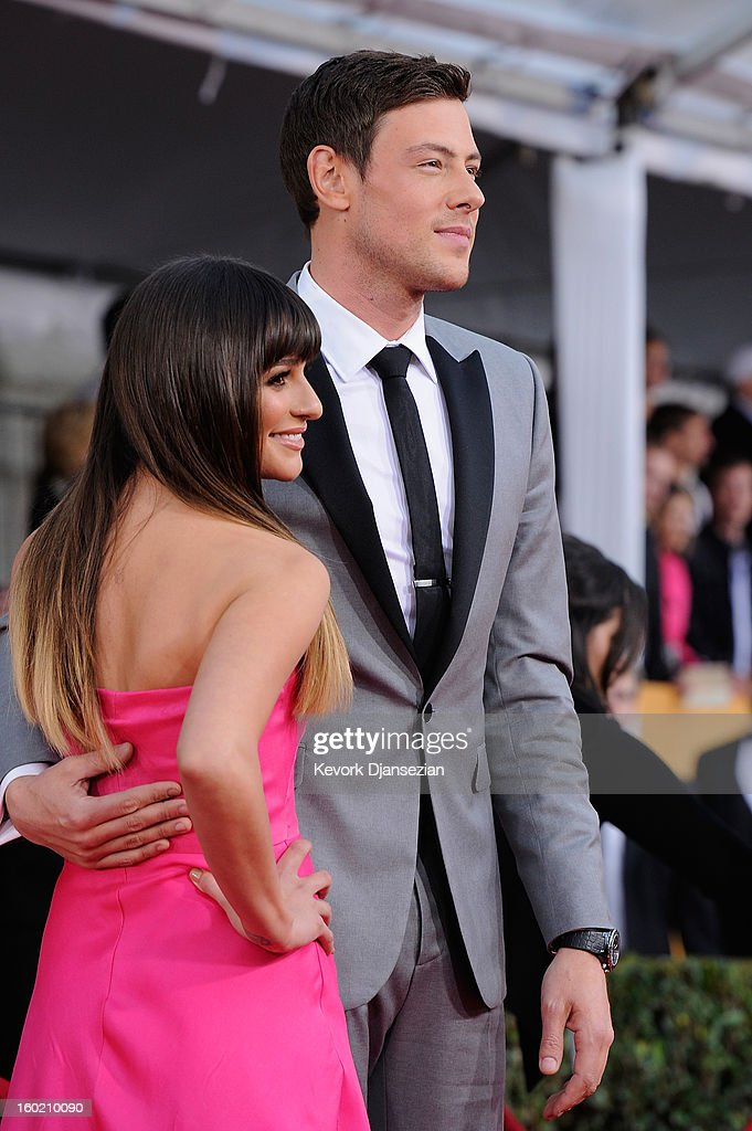 Actors Lea Michelle and Cory Monteith arrives at the 19th Annual Screen Actors Guild Awards held at The Shrine Auditorium on January 27, 2013 in Los Angeles, California.