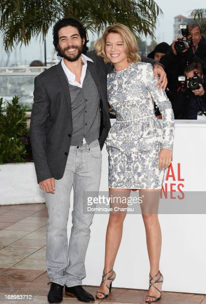 Actors Lea Seydoux and Tahar Rahim attend the photocall for 'Grand Central' during the 66th Annual Cannes Film Festival at Palais des Festivals on...