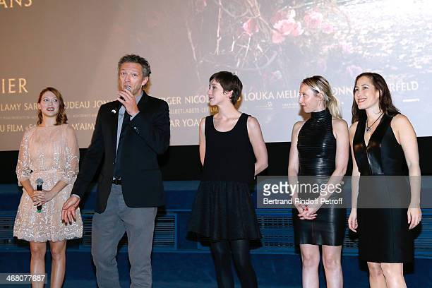Actors Lea Seydoux Vincent Cassel Sara Giraudeau Audrey Lamy and Myriam Charleins speaking at the end of 'La Belle et la Bete' Paris Premiere Held at...