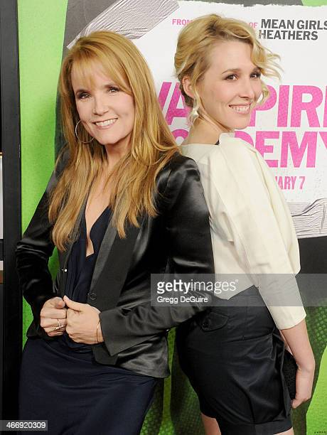 Actors Lea Thompson and daughter Madelyn Deutch arrive at the Los Angeles premiere of 'Vampire Academy' at Regal Cinemas LA Live on February 4 2014...