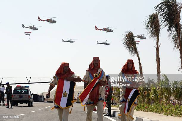 Actors leave the staging area during the opening ceremony of the new Suez Canal expansion including a new 35km channel on August 6 2015 in Suez Egypt...