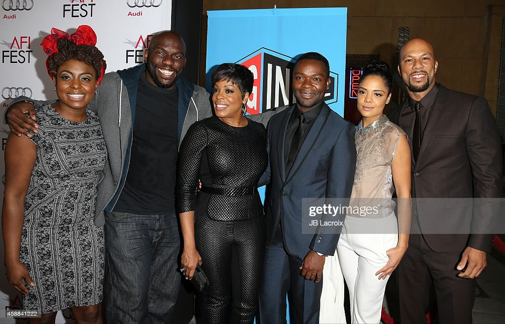 Actors <a gi-track='captionPersonalityLinkClicked' href=/galleries/search?phrase=Ledisi&family=editorial&specificpeople=782540 ng-click='$event.stopPropagation()'>Ledisi</a> Young, <a gi-track='captionPersonalityLinkClicked' href=/galleries/search?phrase=Omar+J.+Dorsey&family=editorial&specificpeople=4029296 ng-click='$event.stopPropagation()'>Omar J. Dorsey</a>, <a gi-track='captionPersonalityLinkClicked' href=/galleries/search?phrase=Niecy+Nash&family=editorial&specificpeople=228464 ng-click='$event.stopPropagation()'>Niecy Nash</a>, <a gi-track='captionPersonalityLinkClicked' href=/galleries/search?phrase=David+Oyelowo&family=editorial&specificpeople=633075 ng-click='$event.stopPropagation()'>David Oyelowo</a>, <a gi-track='captionPersonalityLinkClicked' href=/galleries/search?phrase=Tessa+Thompson&family=editorial&specificpeople=808125 ng-click='$event.stopPropagation()'>Tessa Thompson</a> and <a gi-track='captionPersonalityLinkClicked' href=/galleries/search?phrase=Common+-+Rapper&family=editorial&specificpeople=4124329 ng-click='$event.stopPropagation()'>Common</a> attend the 'Selma' first look during the AFI FEST 2014 presented by Audi at the Egyptian Theatre on November 11, 2014 in Hollywood, California.