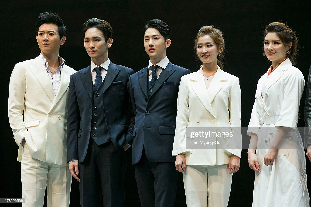 Actors Lee GunMyung Key of South Korean boy band SHINee Jo Kwon of South Korean boy band 2AM Lee JungHwa and An SiHa attend the press call Musical...
