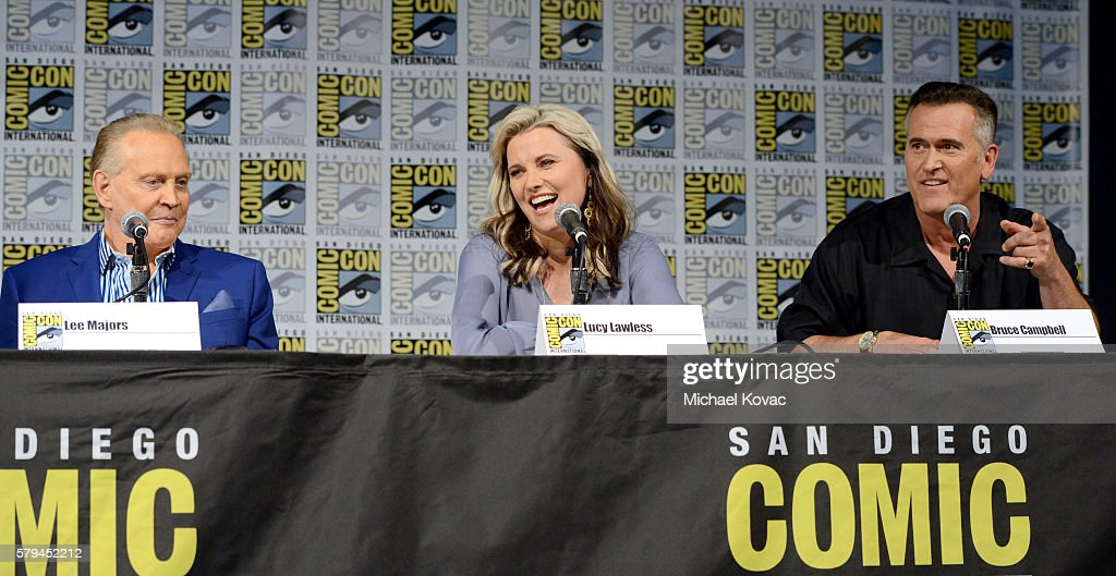 Actors Lee Majors Lucy Lawless and Bruce Campbell speak on stage during the 'Ash vs Evil Dead' panel during ComicCon International at the San Diego...