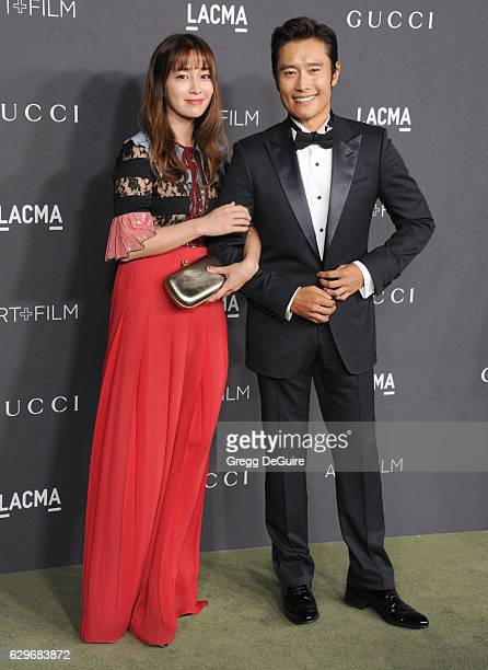 Actors Lee Minjung and Lee Byunghun wearing Gucci arrive at the 2016 LACMA Art Film Gala Honoring Robert Irwin And Kathryn Bigelow Presented By Gucci...