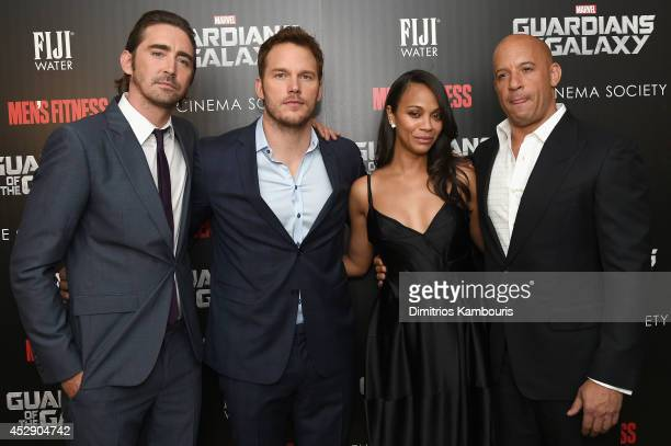 Actors Lee Pace Chris Pratt Zoe Saldana and Vin Diesel attend The Cinema Society with Men's Fitness and FIJI Water special screening of Marvel's...