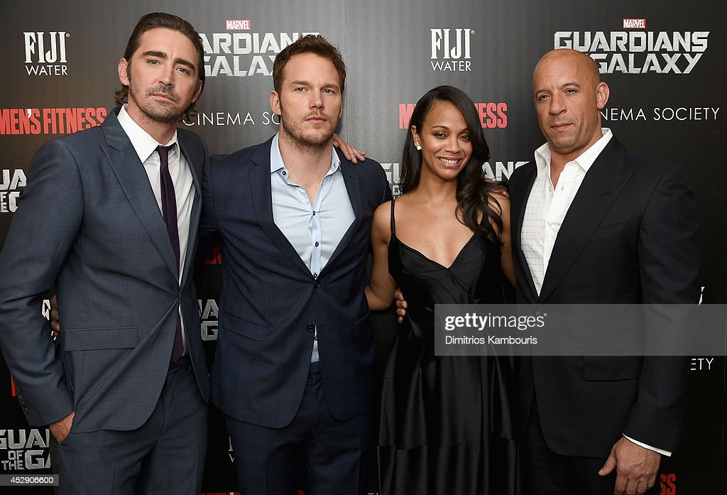 Actors <a gi-track='captionPersonalityLinkClicked' href=/galleries/search?phrase=Lee+Pace&family=editorial&specificpeople=228993 ng-click='$event.stopPropagation()'>Lee Pace</a>, <a gi-track='captionPersonalityLinkClicked' href=/galleries/search?phrase=Chris+Pratt+-+Actor&family=editorial&specificpeople=239084 ng-click='$event.stopPropagation()'>Chris Pratt</a>, <a gi-track='captionPersonalityLinkClicked' href=/galleries/search?phrase=Zoe+Saldana&family=editorial&specificpeople=542691 ng-click='$event.stopPropagation()'>Zoe Saldana</a> and <a gi-track='captionPersonalityLinkClicked' href=/galleries/search?phrase=Vin+Diesel&family=editorial&specificpeople=171983 ng-click='$event.stopPropagation()'>Vin Diesel</a> attend The Cinema Society with Men's Fitness and FIJI Water special screening of Marvel's 'Guardians of the Galaxy' at Crosby Street Hotel on July 29, 2014 in New York City.