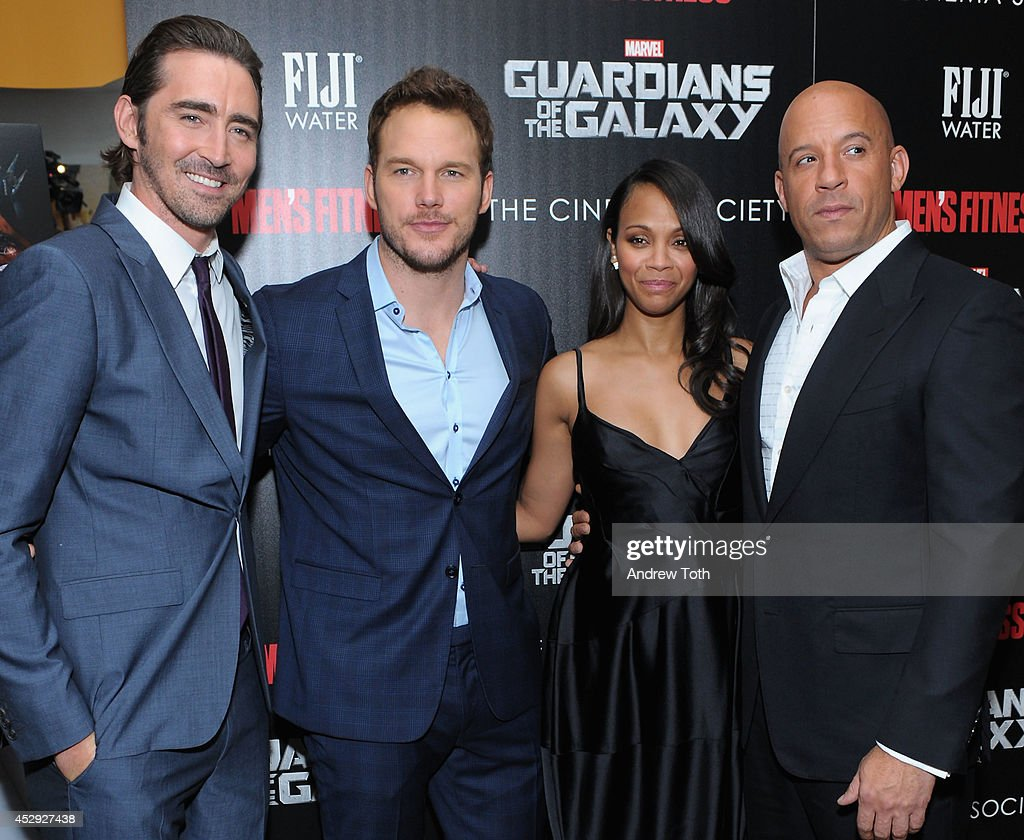Actors <a gi-track='captionPersonalityLinkClicked' href=/galleries/search?phrase=Lee+Pace&family=editorial&specificpeople=228993 ng-click='$event.stopPropagation()'>Lee Pace</a>, <a gi-track='captionPersonalityLinkClicked' href=/galleries/search?phrase=Chris+Pratt+-+Actor&family=editorial&specificpeople=239084 ng-click='$event.stopPropagation()'>Chris Pratt</a>, <a gi-track='captionPersonalityLinkClicked' href=/galleries/search?phrase=Zoe+Saldana&family=editorial&specificpeople=542691 ng-click='$event.stopPropagation()'>Zoe Saldana</a> and <a gi-track='captionPersonalityLinkClicked' href=/galleries/search?phrase=Vin+Diesel&family=editorial&specificpeople=171983 ng-click='$event.stopPropagation()'>Vin Diesel</a> attend The Cinema Society with Men's Fitness & FIJI Water host a screening of 'Guardians of the Galaxy' on July 29, 2014 in New York City.