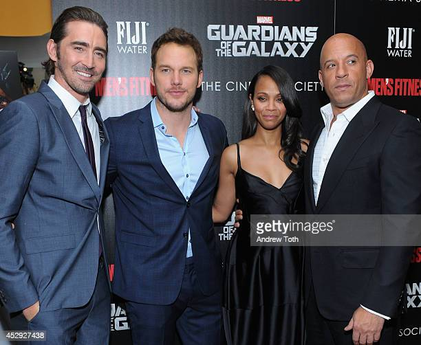 Actors Lee Pace Chris Pratt Zoe Saldana and Vin Diesel attend The Cinema Society with Men's Fitness FIJI Water host a screening of 'Guardians of the...
