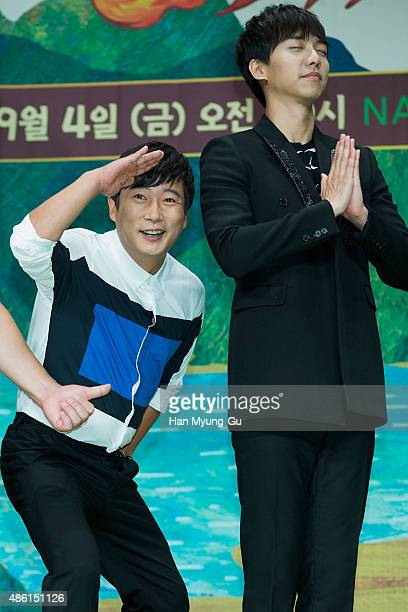 Actors Lee SooGeun and Lee SeungGi attend the tvN 'ShinSeoYuGi' press conference on September 1 2015 in Seoul South Korea The program will open on...