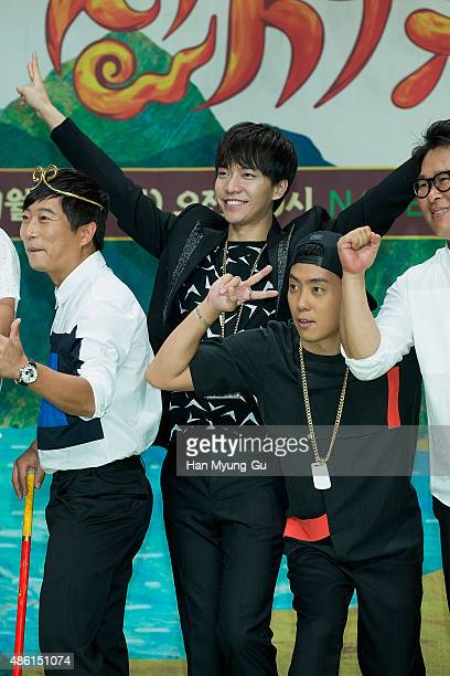 Actors Lee SooGeun Lee SeungGi and Eun JiWon attend the tvN 'ShinSeoYuGi' press conference on September 1 2015 in Seoul South Korea The program will...