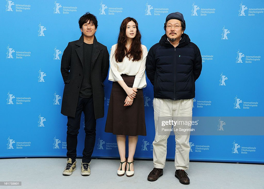 Actors Lee Sun Gyun, Jung Eun Chae and director Hong Sangsoo attend the 'Nobody's Daughter Haewon' Photocall during the 63rd Berlinale International Film Festival at the Grand Hyatt Hotel on February 15, 2013 in Berlin, Germany.