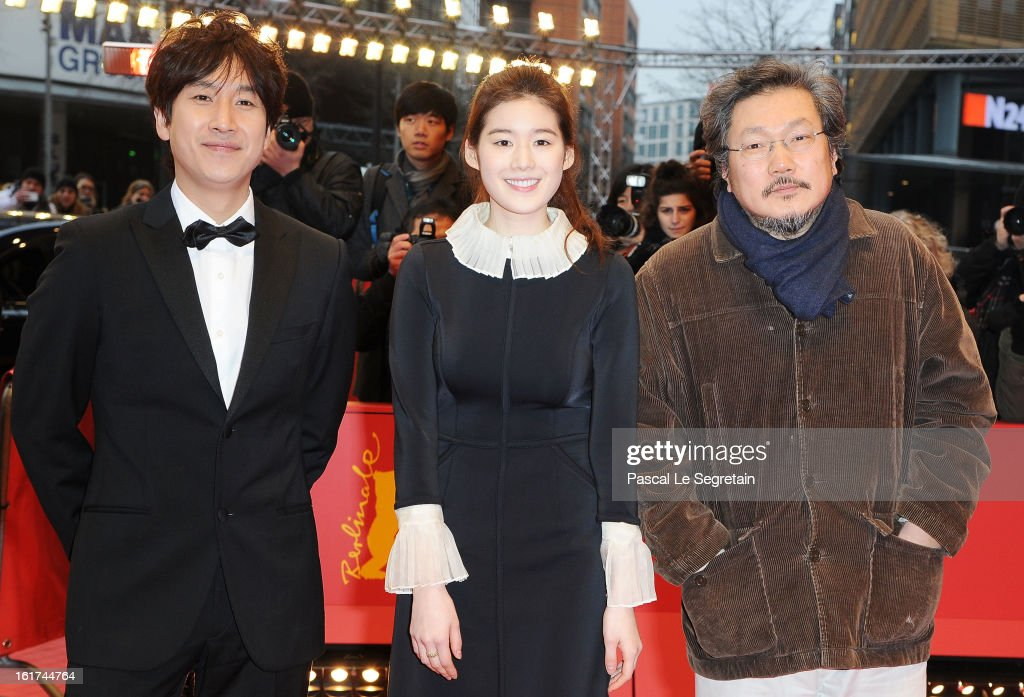Actors Lee Sun Gyun, Jung Eun Chae and director Hong Sangsoo attend the 'Nobody's Daughter Haewon' Premiere during the 63rd Berlinale International Film Festival at Berlinale Palast on February 15, 2013 in Berlin, Germany.