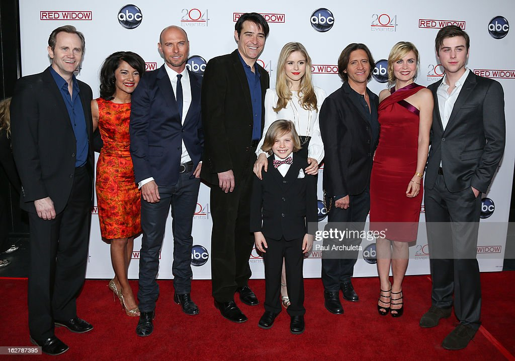 Actors Lee Tergesen, Suleka Mathew, Luke Goss, Goran Visnjic, Jakob Salvati, Erin Moriarty, Clifton Collins, Radha Mitchell and Sterling Beaumon attend a dinner to celebrate ABC's new series 'Red Widow' at Romanov Restaurant & Lounge on February 26, 2013 in Studio City, California.