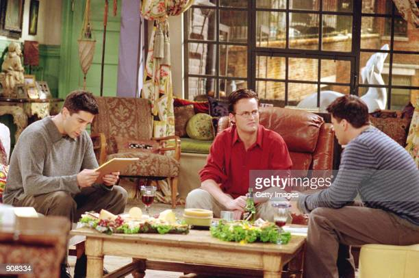 Actors left to right David Schwimmer as Ross Geller Matthew Perry as Chandler Bing and Matt LeBlanc as Joey Tribbiani star in NBC's comedy series...