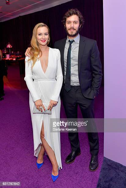 Actors Leighton Meester and Adam Brody attend The 2017 InStyle and Warner Bros 73rd Annual Golden Globe Awards PostParty at The Beverly Hilton Hotel...