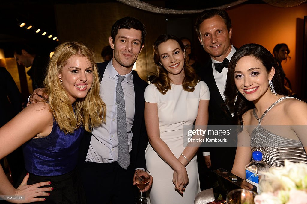 Actors <a gi-track='captionPersonalityLinkClicked' href=/galleries/search?phrase=Leighton+Meester&family=editorial&specificpeople=3947554 ng-click='$event.stopPropagation()'>Leighton Meester</a> (C) and <a gi-track='captionPersonalityLinkClicked' href=/galleries/search?phrase=Adam+Brody&family=editorial&specificpeople=213610 ng-click='$event.stopPropagation()'>Adam Brody</a> (2nd L), <a gi-track='captionPersonalityLinkClicked' href=/galleries/search?phrase=Tony+Goldwyn&family=editorial&specificpeople=234897 ng-click='$event.stopPropagation()'>Tony Goldwyn</a> (2nd R), <a gi-track='captionPersonalityLinkClicked' href=/galleries/search?phrase=Emmy+Rossum&family=editorial&specificpeople=202563 ng-click='$event.stopPropagation()'>Emmy Rossum</a> (R) attend the 68th Annual Tony Awards at Radio City Music Hall on June 8, 2014 in New York City.