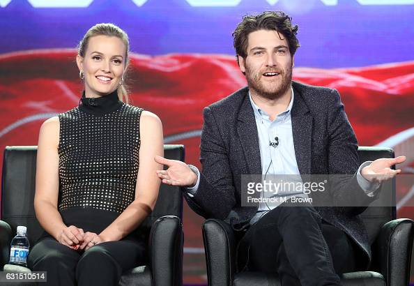 Actors Leighton Meester and Adam Pally of the television show 'Making History' speak onstage during the FOX portion of the 2017 Winter Television...