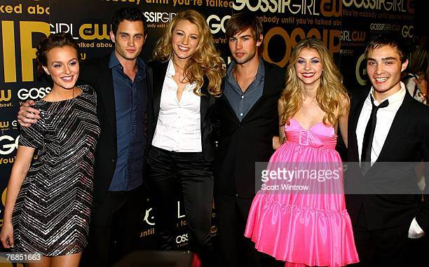 Actors Leighton Meester Penn Badgley Blake Lively Chace Crawford Taylor Momsen and Ed Westwick attend the launch party for CW Network's 'Gossip...