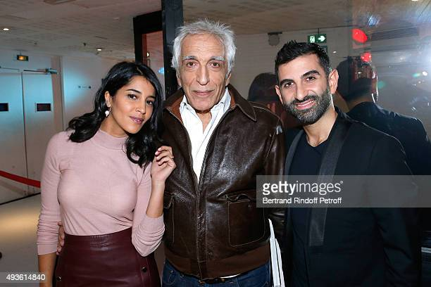 Actors Leila Bekhti Gerard Darmon and Kheiron Tabib present the Movie 'Nous trois ou rien' during the 'Vivement Dimanche' French TV Show at Pavillon...