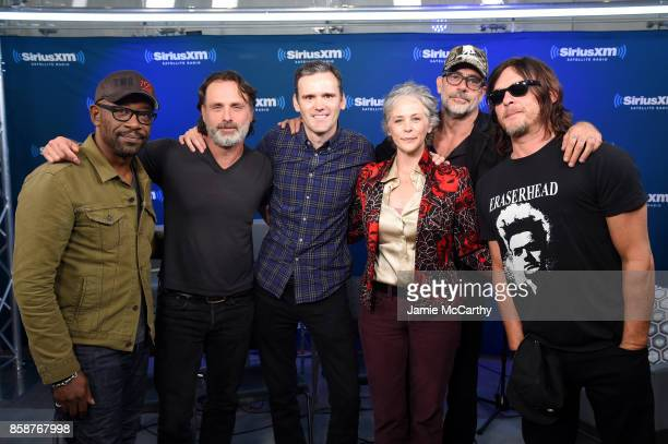 Actors Lennie James Andrew Lincoln Sirius XM's Dalton Ross Melissa McBride Jeffrey Dean Morgan and Norman Reedus attend the SiriusXM 'Town Hall' with...