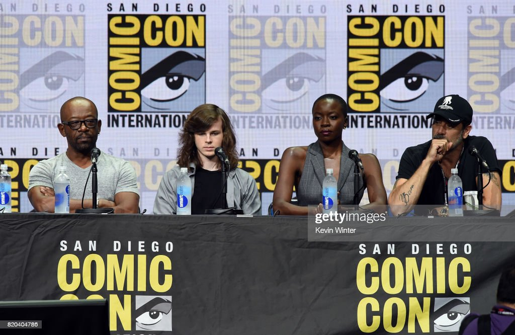 Actors Lennie James, Chandler Riggs, Danai Gurira, and Jeffrey Dean Morgan speak onstage at the 'The Walking Dead' panel during Comic-Con International 2017 at San Diego Convention Center on July 21, 2017 in San Diego, California.