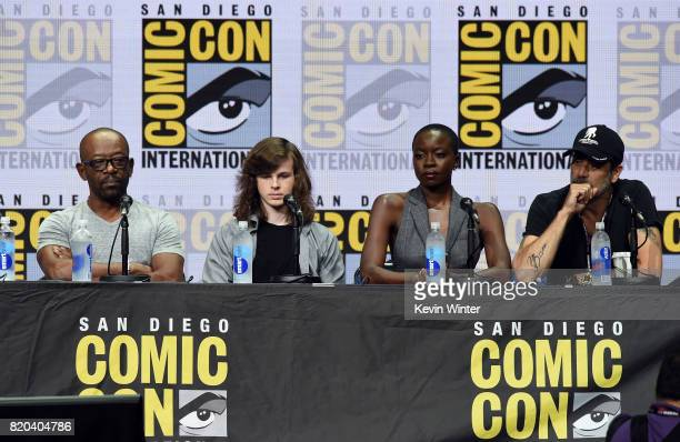Actors Lennie James Chandler Riggs Danai Gurira and Jeffrey Dean Morgan speak onstage at the 'The Walking Dead' panel during ComicCon International...