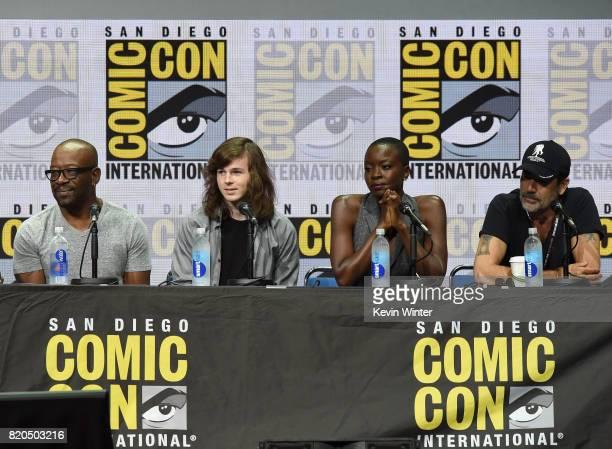 Actors Lennie James Chandler Riggs Danai Gurira and Jeffrey Dean Morgan speak onstage at ComicCon International 2017 AMC's 'The Walking Dead' panel...