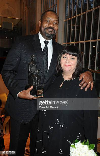 Actors Lenny Henry with the Outstanding Newcomer award and Dawn French attend the London Evening Standard Theatre Awards at the Royal Opera House on...