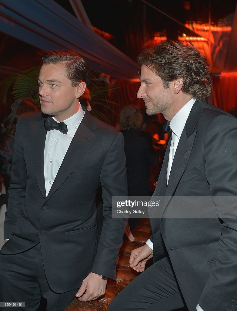 Actors <a gi-track='captionPersonalityLinkClicked' href=/galleries/search?phrase=Leonardo+DiCaprio&family=editorial&specificpeople=201635 ng-click='$event.stopPropagation()'>Leonardo DiCaprio</a> and <a gi-track='captionPersonalityLinkClicked' href=/galleries/search?phrase=Bradley+Cooper&family=editorial&specificpeople=680224 ng-click='$event.stopPropagation()'>Bradley Cooper</a> attend The Weinstein Company's 2013 Golden Globe Awards After Party presented by Chopard held at The Old Trader Vic's at The Beverly Hilton Hotel on January 13, 2013 in Beverly Hills, California.