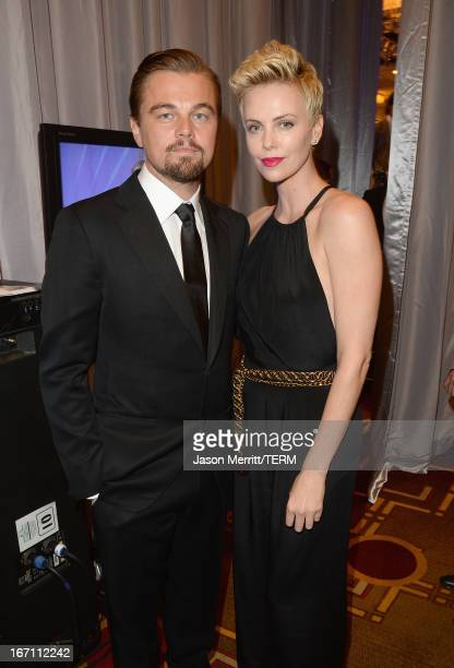 Actors Leonardo DiCaprio and Charlize Theron attend the 24th Annual GLAAD Media Awards at JW Marriott Los Angeles at LA LIVE on April 20 2013 in Los...