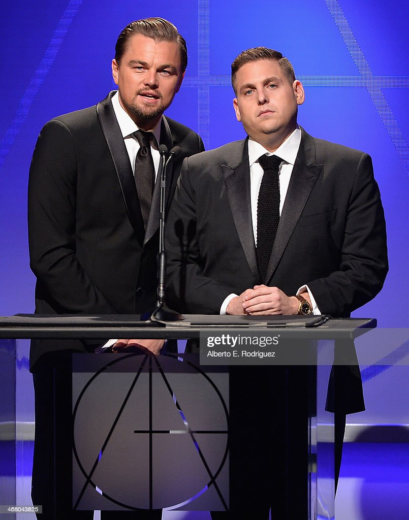 Actors Leonardo DiCaprio and Jonah Hill speak on stage atthe 18th Annual Art Directors Guild Exellence In Production Design Awards at The Beverly...