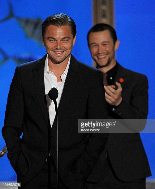 Actors Leonardo DiCaprio and Joseph GordonLevitt receive the Most Manticipated Movie Award for the film Inception onstage during Spike TV's 4th...