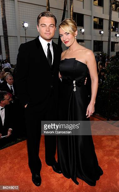 Actors Leonardo DiCaprio and Kate Winslet arrive at the 66th Annual Golden Globe Awards held at the Beverly Hilton Hotel on January 11 2009 in...