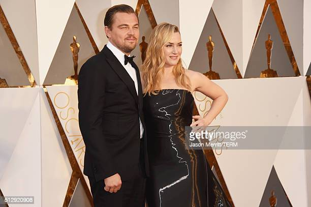 Actors Leonardo DiCaprio and Kate Winslet attend the 88th Annual Academy Awards at Hollywood Highland Center on February 28 2016 in Hollywood...