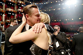 Actors Leonardo DiCaprio and Kate Winslet embrace at the 88th Annual Academy Awards at Dolby Theatre on February 28 2016 in Hollywood California