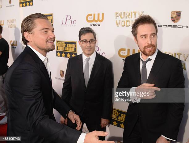 Actors Leonardo DiCaprio and Sam Rockwell attend the 19th Annual Critics' Choice Movie Awards at Barker Hangar on January 16 2014 in Santa Monica...