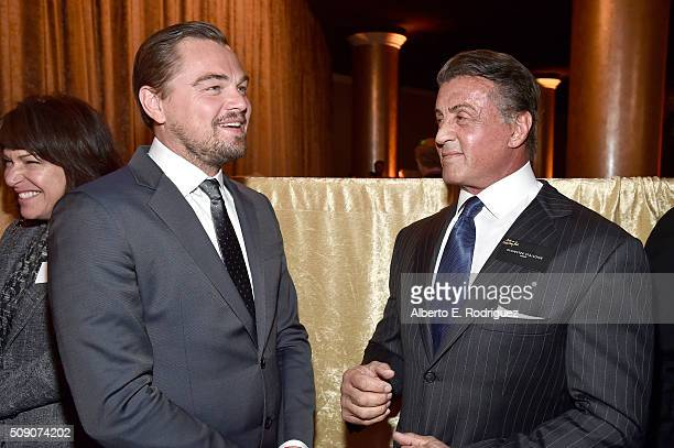Actors Leonardo DiCaprio and Sylvester Stallone attend the 88th Annual Academy Awards nominee luncheon on February 8 2016 in Beverly Hills California