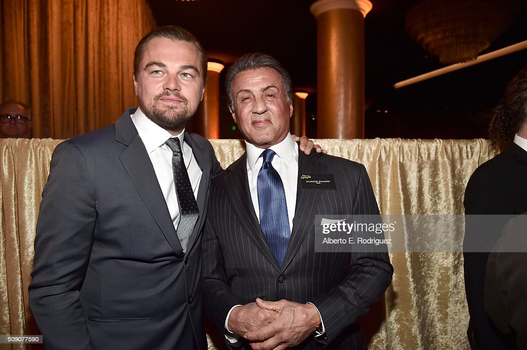 Actors <a gi-track='captionPersonalityLinkClicked' href=/galleries/search?phrase=Leonardo+DiCaprio&family=editorial&specificpeople=201635 ng-click='$event.stopPropagation()'>Leonardo DiCaprio</a> (L) and <a gi-track='captionPersonalityLinkClicked' href=/galleries/search?phrase=Sylvester+Stallone&family=editorial&specificpeople=202604 ng-click='$event.stopPropagation()'>Sylvester Stallone</a> attend the 88th Annual Academy Awards nominee luncheon on February 8, 2016 in Beverly Hills, California.
