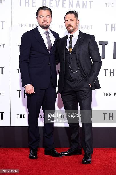 Actors Leonardo DiCaprio and Tom Hardy arrives at the Premiere Of 20th Century Fox And Regency Enterprises' 'The Revenant' at TCL Chinese Theatre on...