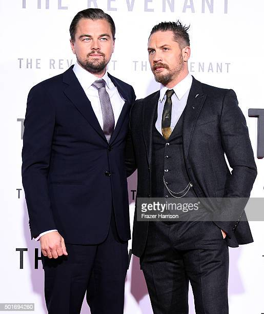Actors Leonardo DiCaprio and Tom Hardy attend the premiere of 20th Century Fox and Regency Enterprises' 'The Revenant' at the TCL Chinese Theatre on...