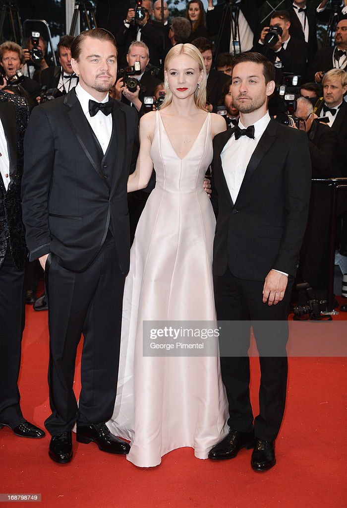 Actors Leonardo DiCaprio, Carey Mulligan and Tobey Maguire attend the Opening Ceremony and Premiere of 'The Great Gatsby' at The 66th Annual Cannes Film Festival at Palais des Festivals on May 15, 2013 in Cannes, France.