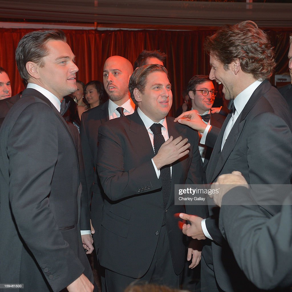Actors <a gi-track='captionPersonalityLinkClicked' href=/galleries/search?phrase=Leonardo+DiCaprio&family=editorial&specificpeople=201635 ng-click='$event.stopPropagation()'>Leonardo DiCaprio</a>, <a gi-track='captionPersonalityLinkClicked' href=/galleries/search?phrase=Jonah+Hill&family=editorial&specificpeople=544481 ng-click='$event.stopPropagation()'>Jonah Hill</a> and <a gi-track='captionPersonalityLinkClicked' href=/galleries/search?phrase=Bradley+Cooper&family=editorial&specificpeople=680224 ng-click='$event.stopPropagation()'>Bradley Cooper</a> attend The Weinstein Company's 2013 Golden Globe Awards After Party presented by Chopard held at The Old Trader Vic's at The Beverly Hilton Hotel on January 13, 2013 in Beverly Hills, California.