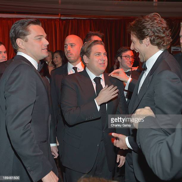 Actors Leonardo DiCaprio Jonah Hill and Bradley Cooper attend The Weinstein Company's 2013 Golden Globe Awards After Party presented by Chopard held...