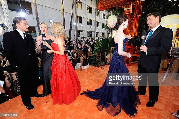 Actors Leonardo DiCaprio Kate Winslet and Anne Hathaway interviewed by ET hosts Mary Hart and Mark Steines at the 66th Annual Golden Globe Awards...