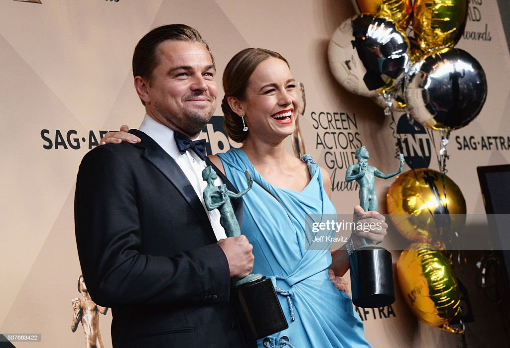 Actors Leonardo DiCaprio winner of the award for Outstanding Performance by a Male Actor in a Leading Role and Brie Larson winner of the award for...